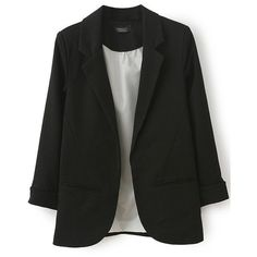 LUCLUC Black Boyfriend Ruched Pockets 3/4 Sleeve Blazer (515 ZAR) ❤ liked on Polyvore featuring outerwear, jackets, blazers, three quarter sleeve jacket, black blazer, 3/4 sleeve blazer, 3/4 sleeve jacket and ruched jacket