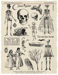 Danse Macabre - Skeleton Ball rubber stamp collection by Oxford Impressions on Etsy, $24.00