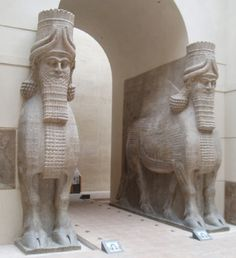 The modern name of of the abandoned 706 to 717 BCE Assyrian town of Dur-Sharrukin is Khorsabad, now in Iraq.  This Human Bull Hybrid gate guardian and everything else was abonded after the death of King Sargon II and is therefore in such good condition.  Object from the Louvre in paris