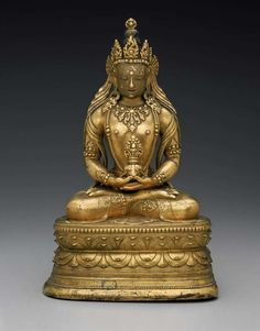 Amitayus | Attributed to School of Zanabazar Dated late 17th–early 18th century Dimensions 27.5 cm (10 13/16 in.) Medium Gilt bronze, face painted with cold gold and pigment Collections Asia Classifications Sculpture Culture Mongolian, Buddhist Object Place Mongolia