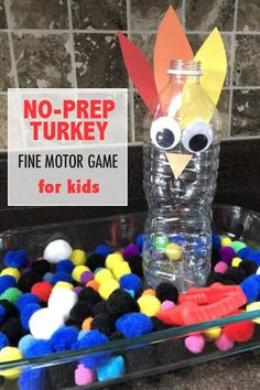 Can't wait to try this simple turkey stuffing pom pom game with the kids! Love this simple fine motor transferring game with a Thanksgiving theme! Outdoor Activities For Kids, Autumn Activities, Toddler Activities, Fun Activities, Thanksgiving Games For Kids, Thanksgiving Traditions, Thanksgiving Crafts, Thanksgiving Decorations, Holiday Crafts