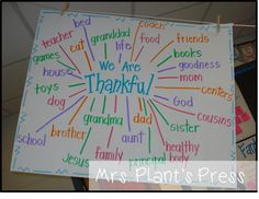 We are thankful chart from Mrs. Plant's Press