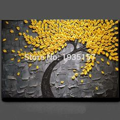 handpainted Oil Painting Palette knife Thick Paint yellow Flowers Painting Modern Home Canvas Wall Living Room Decor Art Picture Wall Canvas, Canvas Art, Art Mural, Wall Art, Palette Knife Painting, Blossom Trees, Texture Painting, Shell Painting, Painting Abstract