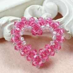 Free 3D Crystal Heart Beading Pattern from PandaHall.com featured in Bead-Patterns.com Newsletter!