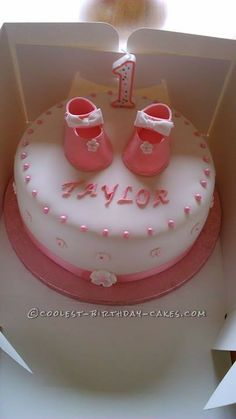 I was asked by my God Daughter to make a cake for her babys first birthday she wanted one with baby shoes on it! Shoe Cakes, Purse Cakes, Cherry Blossom Cake, Camo Wedding Cakes, Dragon Cakes, Cake Wrecks, Ruffle Cake, Fashion Cakes, Cool Birthday Cakes