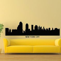 WALL DECAL VINYL STICKER NEW YORK CITY SKYLINE CITY SILHOUETTE DECOR SB93