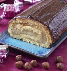 Bûche de Noël noisette chocolat - les meilleures recettes de cuisine d'Ôdélices