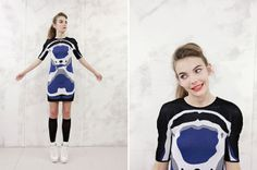 London fashion designer Brooke Roberts uses Photoshop and a textile-design software program to knit medical images into high fashion.