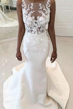 unique mermaid wedding dresses with appliques, elegant illusion bridal gowns, luxurious trumpet satin wedding dresses