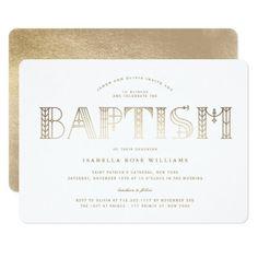 Boho Classy Gold Foil Typography Baptism Invite - elegant gifts gift ideas custom presents