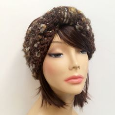 "FREE SHIPPING - Crochet Knotted Turban Ear Warmer Headband - Speckled, Brown, Gold, Cream, Gray, Silver Coupon code ""Pin10"" saves you 10%! #christmas #gift #giftguide #giftsforher #crochet #etsy #yarn"