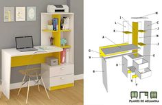 Boys Bedroom Furniture, Tv Furniture, Office Furniture Design, Furniture Projects, Study Room Decor, Study Room Design, Home Room Design, Mesa Home Office, Home Office Decor