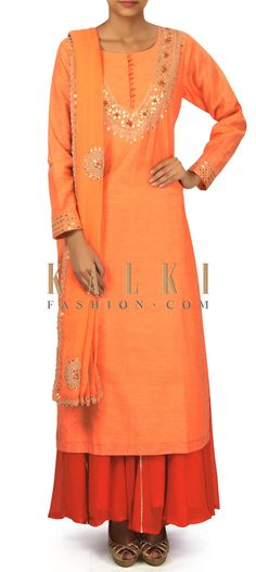 Orange straight suit in gotta patch embroidery only on Kalki