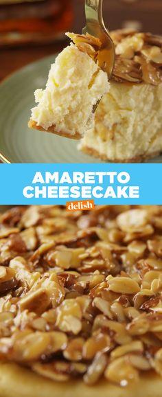 Amaretto Cheesecake Is Pure Delicious Decadence Delish Amaretto Cheesecake, Cheesecake Recipes, Dessert Recipes, Amaretto Recipe, Pie Recipes, Just Desserts, Delicious Desserts, Yummy Food, Yummy Snacks