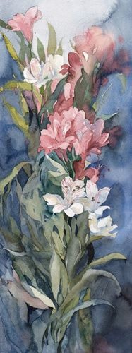 Polina Kukulieva Watercolour: Сold Watercolor Flowers, Watercolor Paintings, Art Aquarelle, Plant Art, Weird Art, Types Of Art, Art Techniques, Love Art, Art Forms