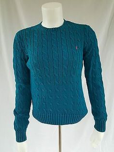 Ralph Lauren Size Small Blue Crewneck Cotton Sweater Long Sleeve Cable Knit