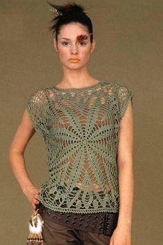 Graficos y Crochet: Blusa de medusa en verde