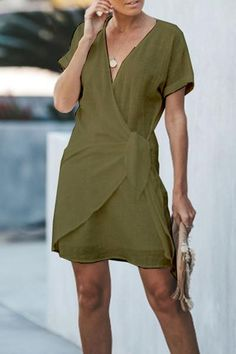 V-Neck Cross Short Sleeved Dresses For Women Solid Color Casual Dresses Bodycon Dress With Sleeves, Long Sleeve Mini Dress, Short Sleeve Dresses, Dresses With Sleeves, Sleeved Dress, Plain Dress, Dress Silhouette, Little Dresses, Summer Dresses For Women