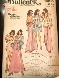 Fab Halter, Wrap Mini, Midi, or Maxi, Flared Pants and Jacket Pattern by Betsey Johnson of Alley Cat---Butterick 10 Bust 32 Betsey Johnson, Vintage Sewing Patterns, Clothing Patterns, Vintage Knitting, Vintage Outfits, Vintage Fashion, Fashion Top, Fashion Sewing, Vintage Beauty