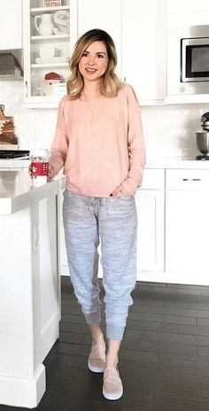 #fall #outfits women's pink sweater. Click To Shop This Look.