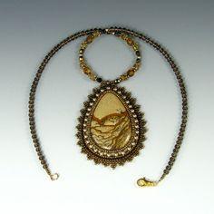 Collier pendentif en jaspe Owyhee II perle par KateTractonDesigns