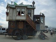 I've heard of houseboats... wonder if this is waterproof, too? Neat - kind of steampunky! (Domythic Bliss: HouseTrucks)
