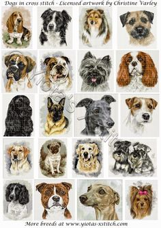 We have some adorable dogs - most breeds available. Artwork is licensed by the very talented artist Christine Varley. All cross stitch kit...