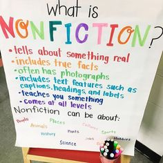 What is Nonfiction? Anchor Chart #Regram via @thedesignerteacher