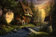 A nice cottage scene. Flickisie's house is not made of brick but of wood. I like the roof and the upper floor window