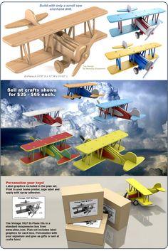 Scroll Saw Magic Vintage 1927 Bi-Plane Wood Toy Plan Set