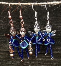Whimsical BLUE Aqua Angel FAIRY Beaded Pixie Earrings: Genuine Swarovski Pearl, Copper & Silver, Faceted Crystal, Czech Pressed Glass OOAK