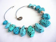 Turquoise Chunks by Sonya's Polymer Creations.
