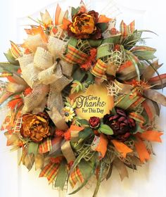 Fall Wreath, Fall Burlap Wreath, Fall Mesh Wreath, Pumpkin Wreath, Fall Floral Wreath, Fall Decor, Thanksgiving Wreath, Give Thanks Wreath  For those who have found this listing via PINTEREST, please note there have been some ribbon changes on this popular wreath. Current ribbons are shown in the Etsy picture and are also listed below.  Showcase the beauty of fall with this burlap fall wreath. Handcrafted with mesh with jute ribbon loops and green burlap, this fall wreath is generously…