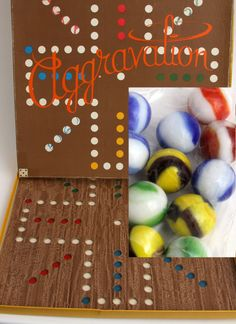"""Rare Early Version """"Patent Applied For"""" Vtg Original #13 Aggravation Game Swirl Glass Marble Woodgrain 4 Standard Ed CO5 #CO5"""