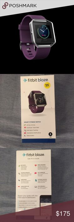 NIB Fitbit Blaze smartwatch NIB never-opened Fitbit Blaze smartwatch and activity tracker. Plum (purple) band in size small. Tracks heart rate, steps, sleep quality and more, and syncs with many smartphones. Smoke- and pet-free home. Make an offer! Fitbit Accessories Watches