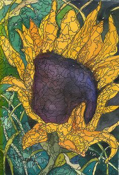 Sunflowers by Tracee Murphy. Watercolour on paper with black pen