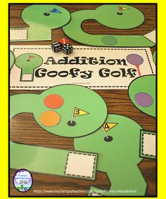 Additing three numbers has never been so fun! Make this cute math center for your students to enjoy a round of Miniature Golf while practicing their addition skills. Math Stations, Math Centers, Work Stations, Addition Games, Addition And Subtraction, Fun Math, Math Games, Kindergarten Activities, Classroom Activities