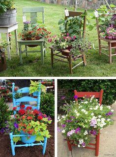 Sabe aquela cadeira velha que você adora mas que ela não tem mais jeito? Você pode coloca-la no seu jardim...