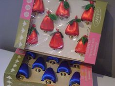 Vintage Christmas Bell Ornaments 16 in 2 original boxes Satin Red Blue