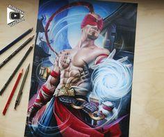 Lee Sin traditional colored pencil drawing, Blondynki Też Grają on ArtStation at https://www.artstation.com/artwork/1YVk2