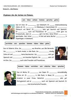 - Ergänzen Sie die Verben im Präsens. Übung 02 German Grammar, German Words, German Language Learning, Language Study, German Resources, Germany Language, Learn German, Foreign Languages, Exercise