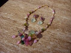Beautiful handcrafted glass beaded necklace with matching earrings