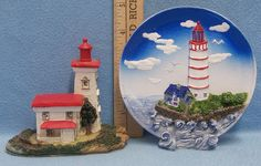 Lot of 2 Nautical Lighthouse Figurines Decor Resin Plate Plaque Blackhouse Point