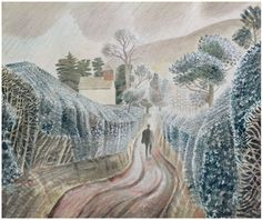 Wet Afternoon by Eric Ravilious 1938 (Private Collection). St Mary's Chapel, Capel-y-ffin, Powys. Landscape Art, Landscape Paintings, Dulwich Picture Gallery, English Artists, British Artists, David Hockney, Gravure, Natural History, Painting & Drawing
