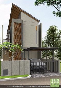 56 Ideas Art Gallery Facade Home Tropical Architecture, Architecture Plan, Residential Architecture, Facade Design, Exterior Design, Bali, Street House, Facade House, Tropical Houses