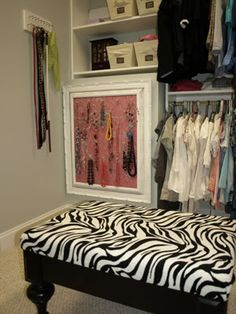 I love this zebra print chair/bed thing in the closet! A place to sit when trying on things! I didn't want to forget that I love this style of chair and want it somewhere in my home!
