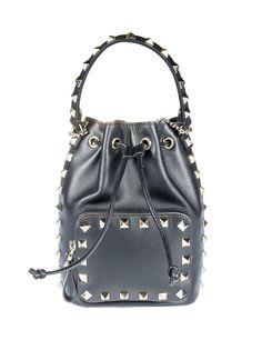Studded Shoulder Bag from Valentino: Black Studded Shoulder Bag with top handle, drawstring fastening, front zip pocket, logo detail at rear, gold-tone hardware,…