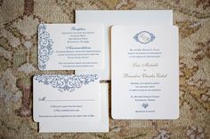 Navy blue and white invitations.