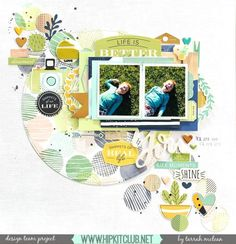 Create a fun diagonal design using circular elements from our #october2016 #hipkits as designer @tarrahm has cleverly done on her layout!  @hipkitclub #honeyimhome @wermemorykeepers #circles #papercrafting @simplestories_ #posh #layering #ephemera #multiplephotos #gather #hipkitclub #kitclub #diagonal #scrapbookingkitclub
