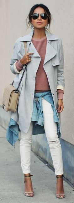 #streetstyle #casualoutfits #spring | Grey trench + Rust Top+ White Denim | Sincerely Jules